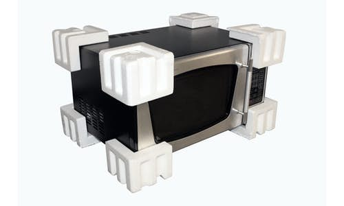 Example molded EPS protective packaging corners for a microwave