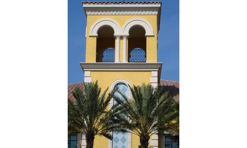 Example building with EIFS (Exterior Insulation and Finishing System) architectural elements