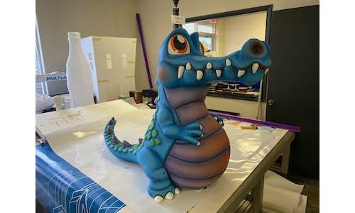 Artistic cute crocodile made from EPS