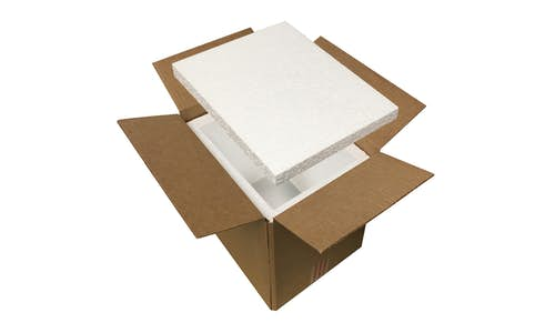 Box liners made of EPS foam insulation arranged in a box to make a shipping cooler