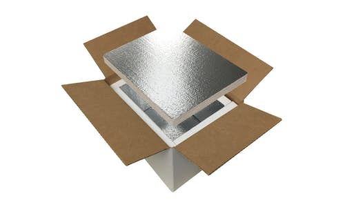 Box liners made of EPS foam insulation, laminated with a metalized reflective facer, arranged in a box to make a shipping cooler