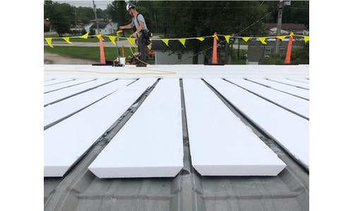Cellofoam Flute Fill on a metal re-roofing application