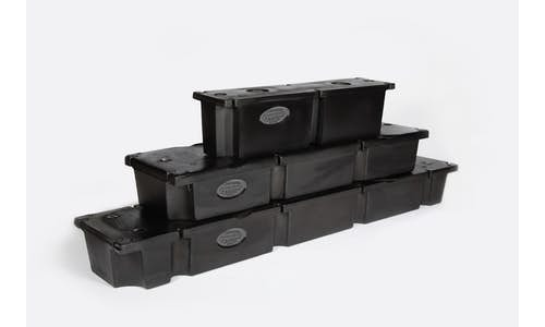 Photo of a group of three stacked Permafloat dock floats