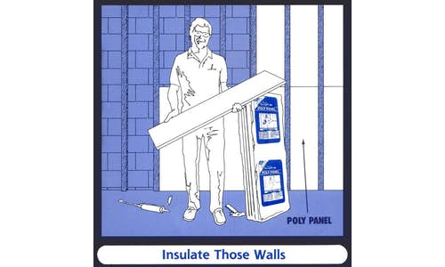 Retro sketch of installation of Poly Panel EPS insulation