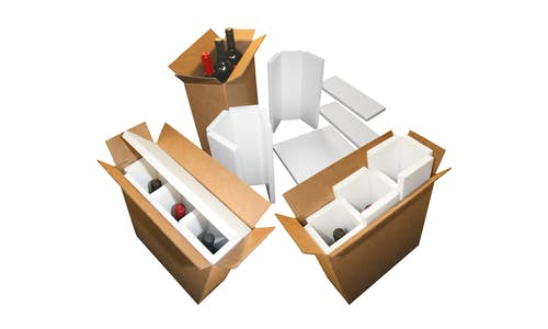 Optional fabricated EPS foam wine shippers with cartons