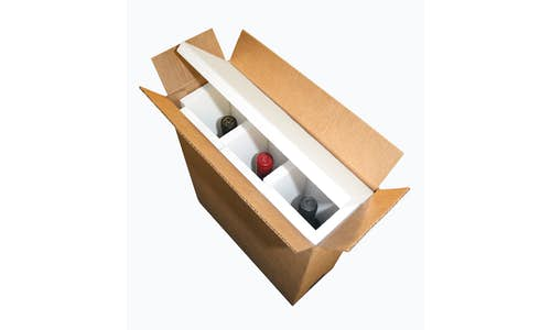Optional fabricated EPS foam wine shippers with a carton